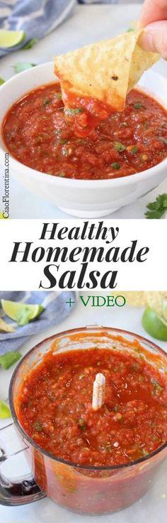 Healthy Homemade Salsa Recipe Video with Cilantro, Garlic and Lime | CiaoFlorentina.com @CiaoFlorentina