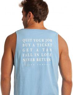 Men's Azul Blue QYJ Tank - Quit Your Job, Buy a Ticket  Island Company
