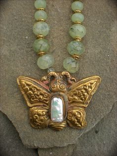 Tibetan Butterfly Amulet Necklace by maggiezees on Etsy, $165.00