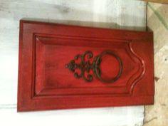OLD CABINET DOOR....TOWEL HANGER