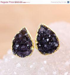 SALE Gold Black Druzy Stud Earrings  Pear Shape Studs  by OhKuol, $25.60