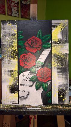 guitar & roses Guitar, Roses, Painting, Art, Pink, Painting Art, Paintings, Kunst, Rose