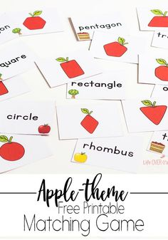 This free printable shape apple matching game is perfect for fall. It's perfect for learning shapes in the fall or in an apple unit! Kids would also love practicing with these fun apple shape at a math center! Preschool Apple Activities, 2d Shapes Activities, Preschool Apple Theme, Learning Shapes, Fall Preschool, Preschool Apples, Preschool Math, Kindergarten Apple Theme, Kindergarten Learning
