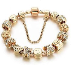 $10.99 : Charm Bracelets for Women Gold Plated Snake Chain Heart Shape Smile Rhinestone Beads Charming Girls Mom Gift: Jewelry