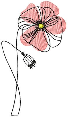 Poppies free embroidery design 12 - Machine embroidery forum Size: x - Stickdateien Doodle - Embrodry Freehand Machine Embroidery, Free Motion Embroidery, Machine Embroidery Applique, Free Machine Embroidery Designs, Embroidery Files, Flower Embroidery, Embroidery Stitches, Thread Art, Watercolor And Ink
