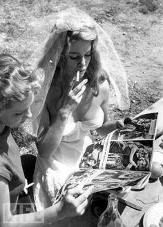 Brigitte Bardot on the set of 'And God Created Woman', 1956.  Photo by John Chillingworth.