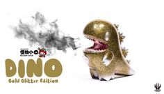 Little DINO GOLD GLITTER edition By Monster Little Ziqi x Unbox Industries | The Toy Chronicle