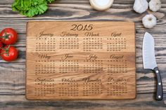 Cutting Board Calendar 2015 Engagement Gift от shesterwood на Etsy