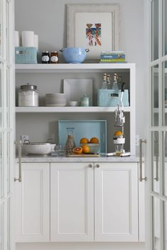 Love the color in this pantry!