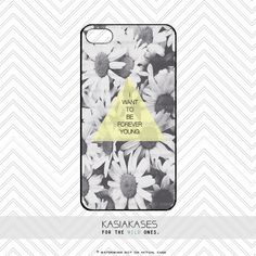 FOREVER YOUNG iPhone Case / Daisy Quote iPhone 4 by KasiaKases