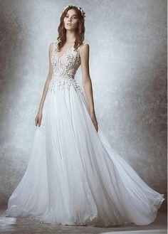 Wonderful Silk-like Chiffon Bateau Neckline See-through A-line Wedding Dresses With Lace Appliques