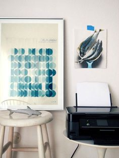 LOVE the Circle Art at The Happy Mundane Beach House Office via Apartment Therapy
