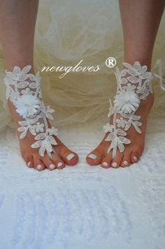 handmade beach shoes bridal sandals wedding bridal by newgloves, $30.00 Sandals Wedding, Bridal Sandals, Nude Sandals, Bare Foot Sandals, Beach Shoes, Barefoot, Jr, Gloves, Ivory