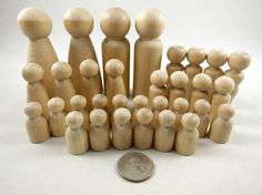 32 Peg Dolls Chess Set Game Pieces Unfinished by DCWoodcrafts