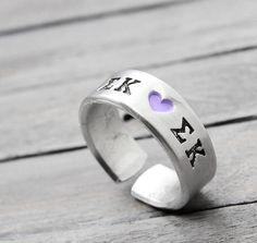 Sigma Kappa Ring Sorority Ring Sigma Kappa by PureImpressions, $17.00 #SigmaKappa #SigmaKappaJewelry #Handstamped #Jewelry #Sisterhood #SororityJewelry #PureImpressions