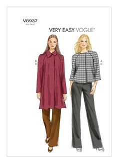 Vogue Patterns Misses' Jacket and Pants Sewing Templates, Size Sewing Patterns For Kids, Mccalls Sewing Patterns, Vogue Patterns, Simplicity Sewing Patterns, Dress Patterns, Hoodie Pattern, Jacket Pattern, Long Hoodie, Sport