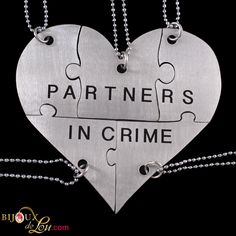 Stainless Steel Partners In Crime 5-Piece Necklace Set: Made of lasercut stainless steel with a silver color, the heart is 3 inches at the widest point when assembled. It breaks into 5 puzzle piece pendants, each with its own matching 24 inch long silver plated necklace chain. Limited quantities available. Also sold in a brass version.