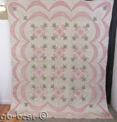 Spectacular 30s Pink Roses Applique Antique Quilt Swags 96 x 80 Well Quilted | eBay