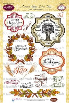 Autumn Vintage Labels Three Clear Stamps