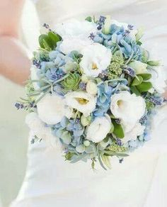 Bridal bouquet- using brighter blue hydrangea from sep pin.  Wrap in cream with pearl pins