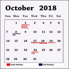 october 2018 calendar with holidays india printable planner october 2018 calendar with holidays usa uk canada india october 2018 holidays calendar