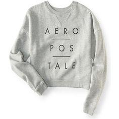 Aeropostale Aéropostale Logo Crew Sweatshirt ($15) ❤ liked on Polyvore featuring tops, hoodies, sweatshirts, light heather grey, logo sweatshirts, logo top, crew-neck tops, boxy sweatshirt and graphic sweatshirt
