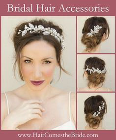 Reasonably priced designer quality bridal hair accessories including hair combs, hair clips, hair vines and hair flowers from Hair Comes the Bride.