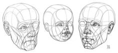 Portrait Drawing anatoref: Head Drawing Tutorial (Based on Steve Houston's Method)Top ImageRow 4 Face Drawing Reference, Art Reference, Drawing Practice, Figure Drawing, Love Drawings, Art Drawings, Planes Of The Face, Silverpoint, Drawing Heads