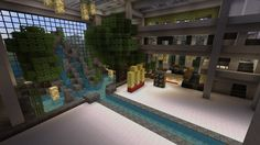 A beautiful fountain landscape in a massive mall! Minecraft Blueprints, Minecraft Designs, Minecraft Creations, Minecraft Projects, Minecraft Crafts, Minecraft Furniture, Minecraft Stuff, Minecraft Decorations, Minecraft Garden