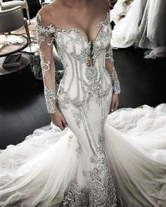 This sexy long sleeve bridal dress is a haute couture masterpiece. The detail wi… – wedding gown Long Sleeve Bridal Dresses, Wedding Gowns With Sleeves, Long Sleeve Wedding, White Wedding Dresses, Bridal Gowns, Different Color Wedding Dresses, Black Bridal Dresses, Long Sleeve Gown, Couture Wedding Gowns