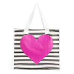 i want it all ban.do shopper - black/white stripe with neon heart