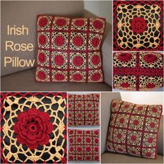 Kathryn White's Irish #Rose #Pillow in sz 10 #crochet #thread brings traditional beauty into your #home.