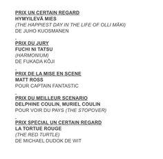 Un Certain Regard Award Winners