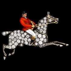 a LORD a Leaping' Edwardian Style Master if the Hounds Diamond & Enamel Brooch.