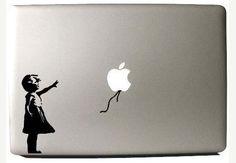 Little girl balloon MacBook decal