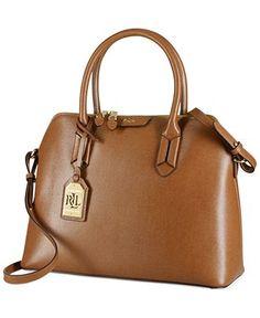 4579d42a8ac6 Lauren Ralph Lauren Tate Dome Satchel - Handbags  amp  Accessories - Macy s  Brown Leather Purses
