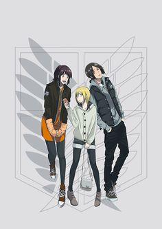 Sasha, Christa, and Ymir