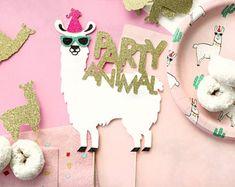 Llama Happy Birthday Cake Topper, Llama Party, Birthday Cake Topper, Custom Cake Topper, Party Animal, Gold Glitter, Llama Cake Topper, Gold