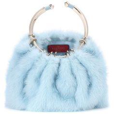 Valentino Valentino Garavani Bebop Loop Mink Fur Clutch ($3,405) ❤ liked on Polyvore featuring bags, handbags, clutches, blue, blue clutches, valentino purses, mink purse, blue handbags and mink handbag