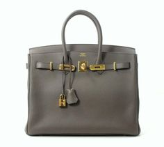 hermes b - Hermes Gris Tourterelle 35cm Togo Birkin with Gold Hardware, in a ...