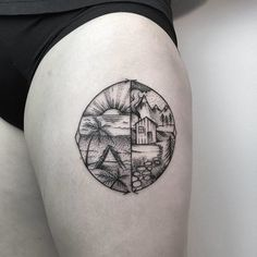 Beach And Mountain With House  In Circle Dotwork  Tattoo