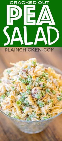 Cracked Out Pea Salad – Macaroni and green peas tossed in mayonnaise, cheddar, bacon and ranch. Great for potlucks or a side dish with a sandwiches. Great for all your spring and summer cookouts! Can make ahead and refrigerate until
