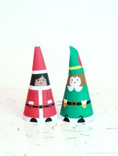 Free printable paper cone dolls for Christmas
