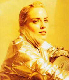 Sharon Stone photographed by Phillip Dixon for Harper's Bazaar, September 1991. Jacket by Richard Mishaan.