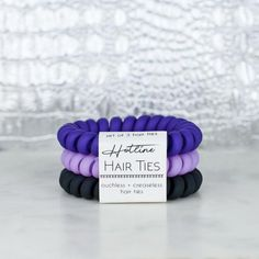 Hotline Hair Ties are ouchless, creaseless, and adorable! Truly feels like there is nothing holding your hair at all. Set of three Scrunchies, Creaseless Hair Ties, Coil Hair Ties, Best Pixie Cuts, Tie Crafts, Korean Fashion Trends, Fashion Styles, Tie Set, Ultra Violet