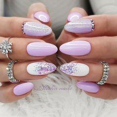 Cute Acrylic Nails, Acrylic Nail Designs, Bridal Nails, Wedding Nails, Gorgeous Nails, Pretty Nails, May Nails, Almond Nails Designs, Pretty Nail Designs