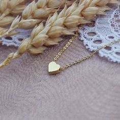 Mini heart necklace, gilded. Beautiful hand made product.