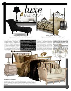 Luxe Bedroom by betiboop8 on Polyvore featuring interior, interiors, interior design, home, home decor, interior decorating, Hillsdale Furniture, ELON, WALL and J. Hunt
