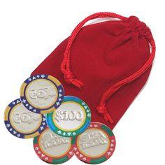 5-pc Chocolate Casino Chip Velvet Bag