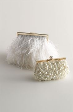 Wedding Clutch Perfect...pearls and feathers